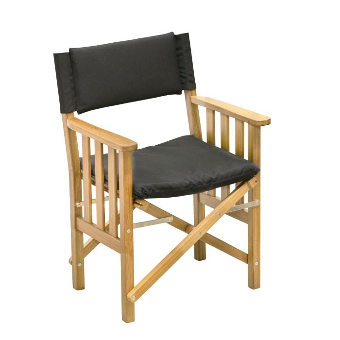 Teak Director's Chair II with Black Seat Cushions