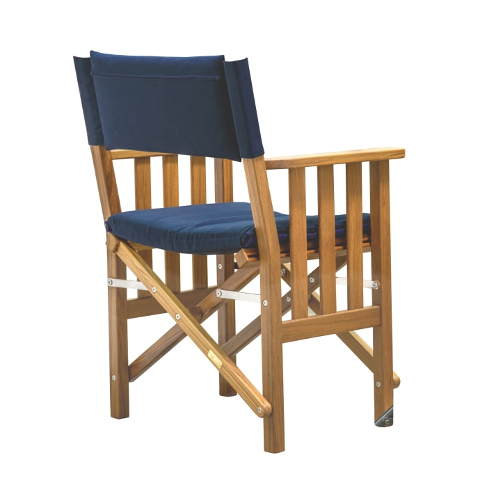 Teak Director's Chair II with Navy Seat Cushions