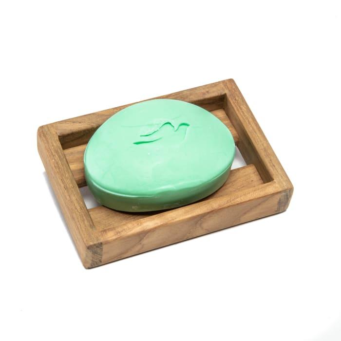 Teak Vanity Soap Dish with Removable Plastic Insert