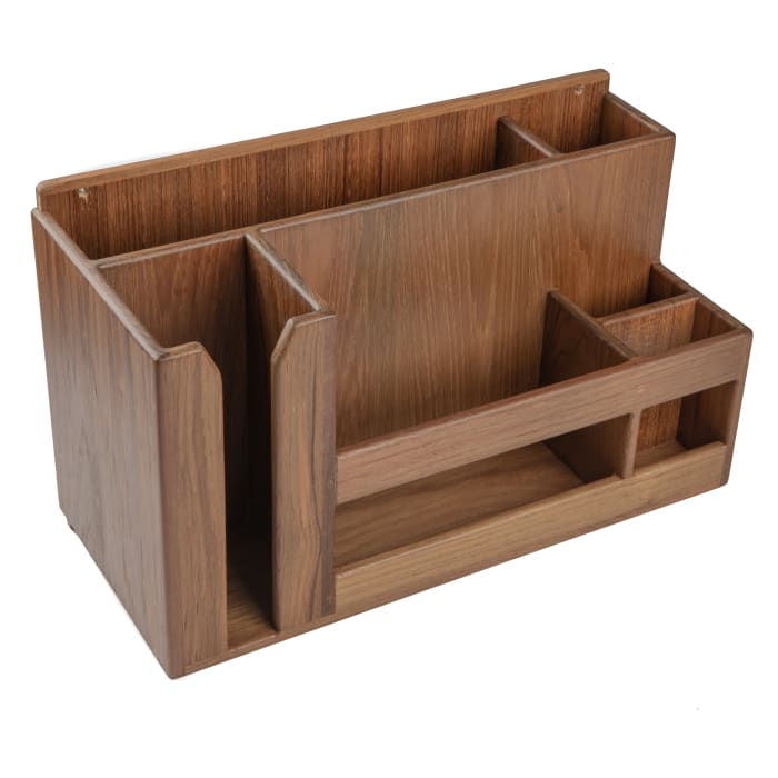 Teak Wall Mount or Stand Alone Dish,Cup and Utensil  Holder