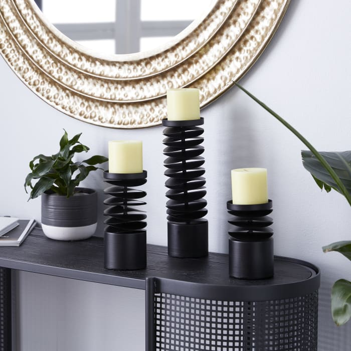 Black Metal Contemporary Set of 3 Candle Holders