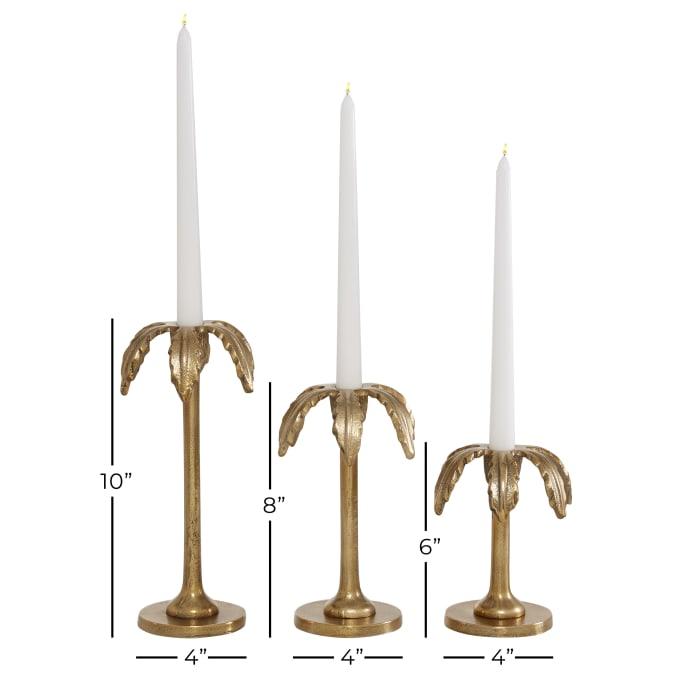 Gold Aluminum Glam Set of 3 Candle Holders