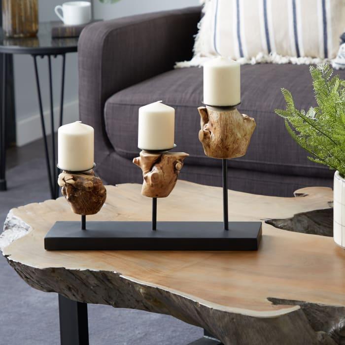 Black Teak Wood Natural Candlestick Holders