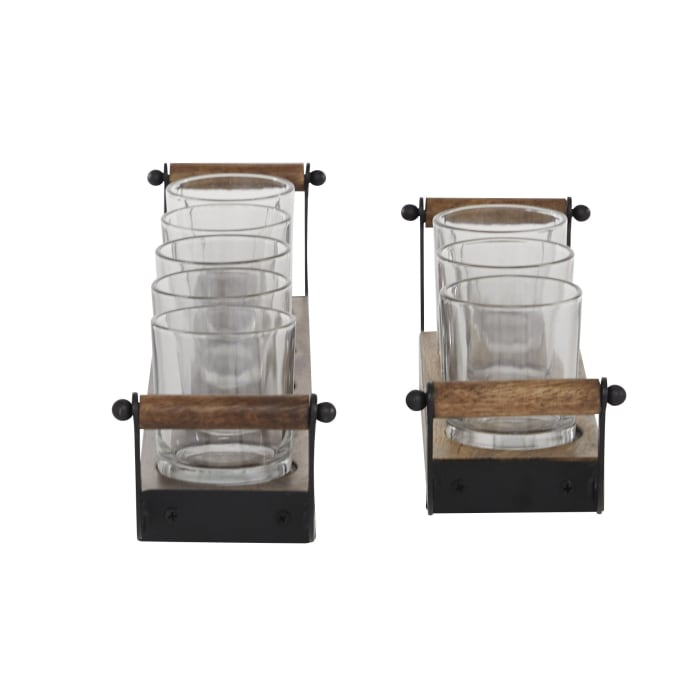 Brown Mango Wood Set of 2 Candle Holders