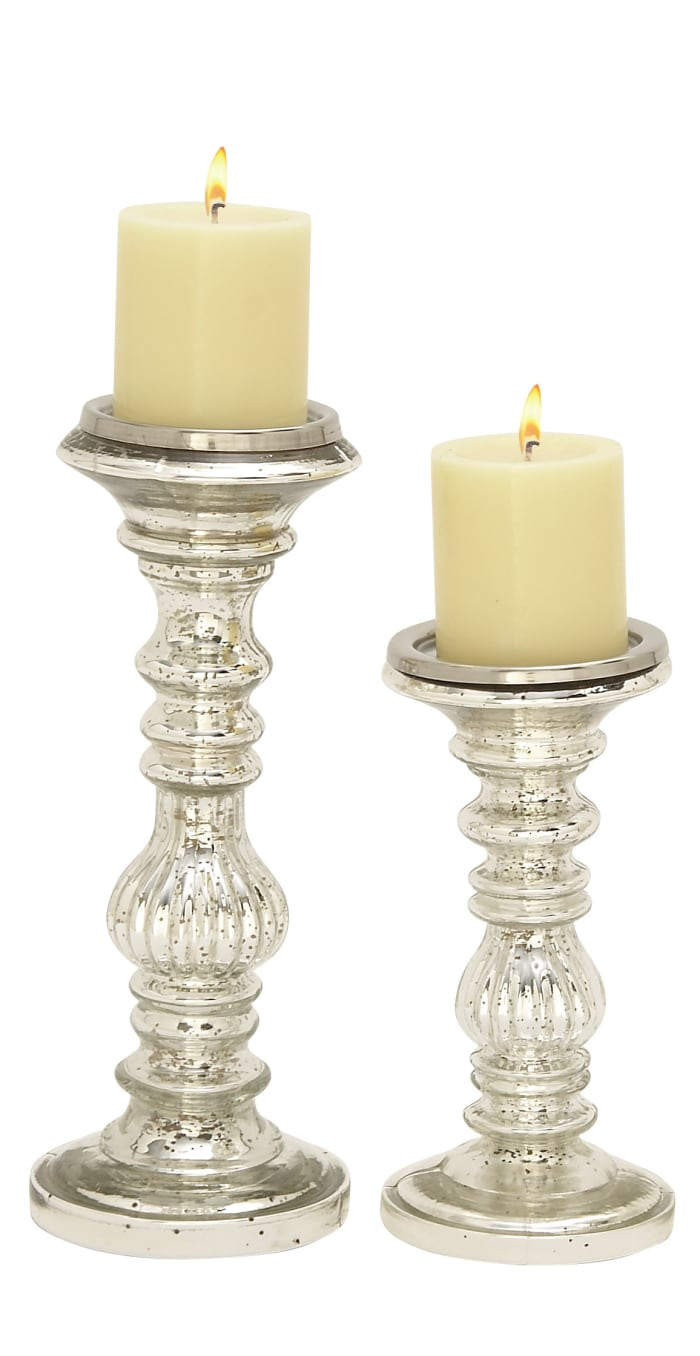 Silver Metal Traditional Set of 2 Candle Holders