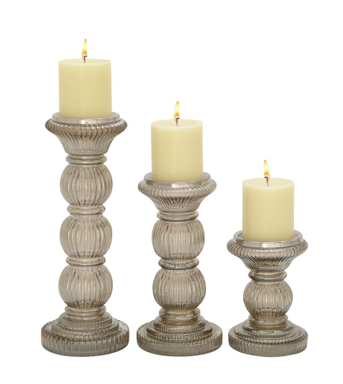 Clear Glass Traditional Set of 3 Candle Holders