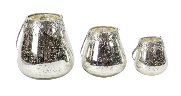 Silver Glass Glam Set of 3 Candle Holders