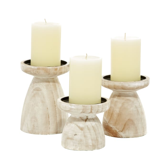 Brown Wood Natural Set of 3 Candle Holders