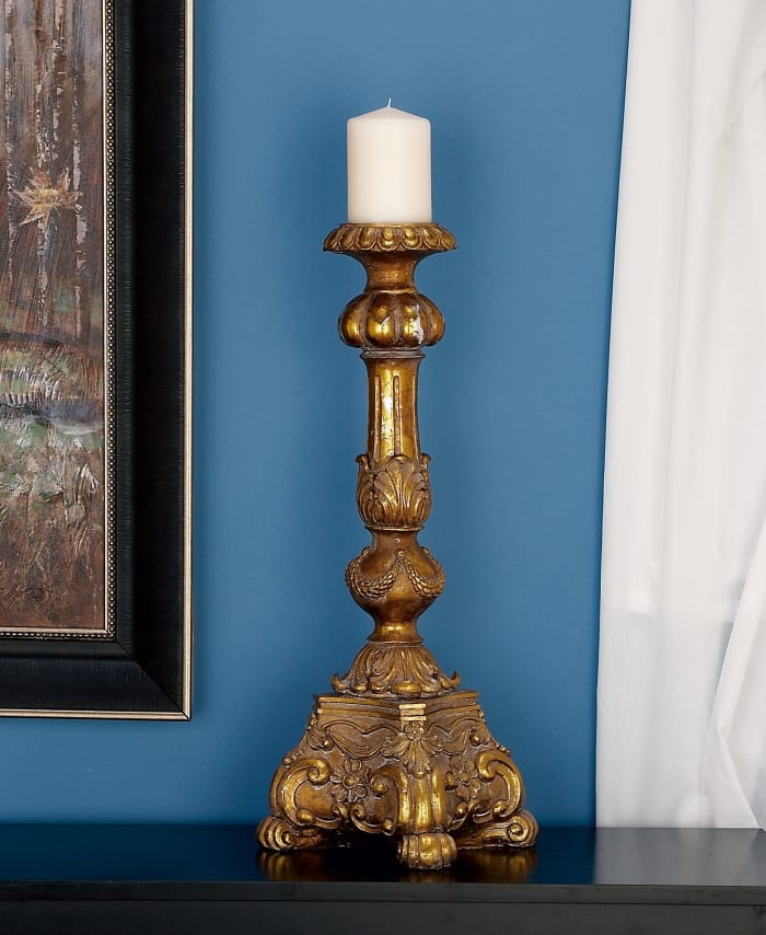Gold Polystone Rustic Candlestick Holders