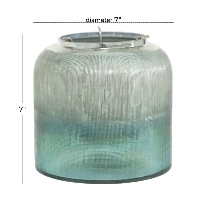 Turquoise Glass Contemporary Candlestick Holders