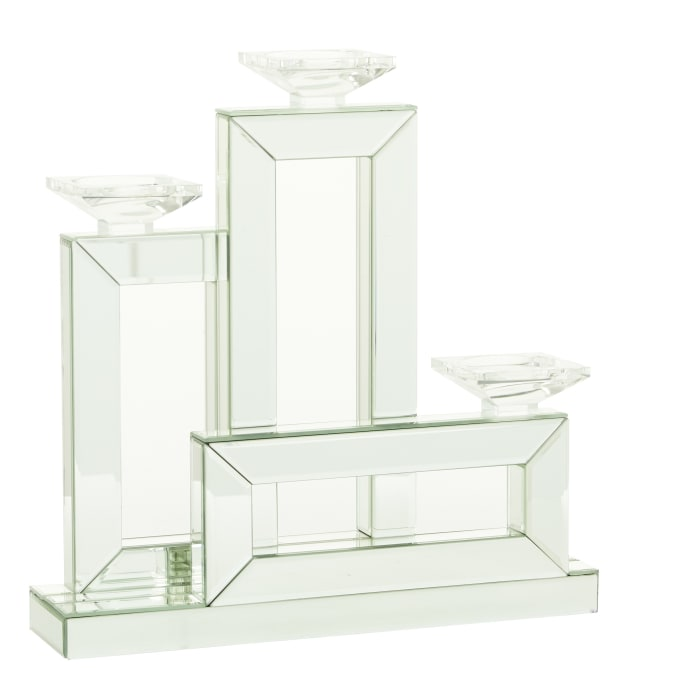 Silver Wood Glam Candlestick Holders