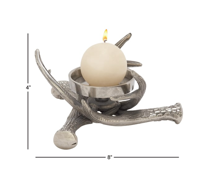 Silver Aluminum Traditional Candlestick Holders