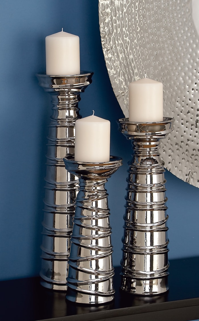 Silver Ceramic Contemporary Set of 3 Candle Holders