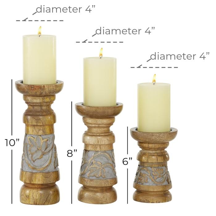 Bronze Mango Wood Set of 3 Candle Holders