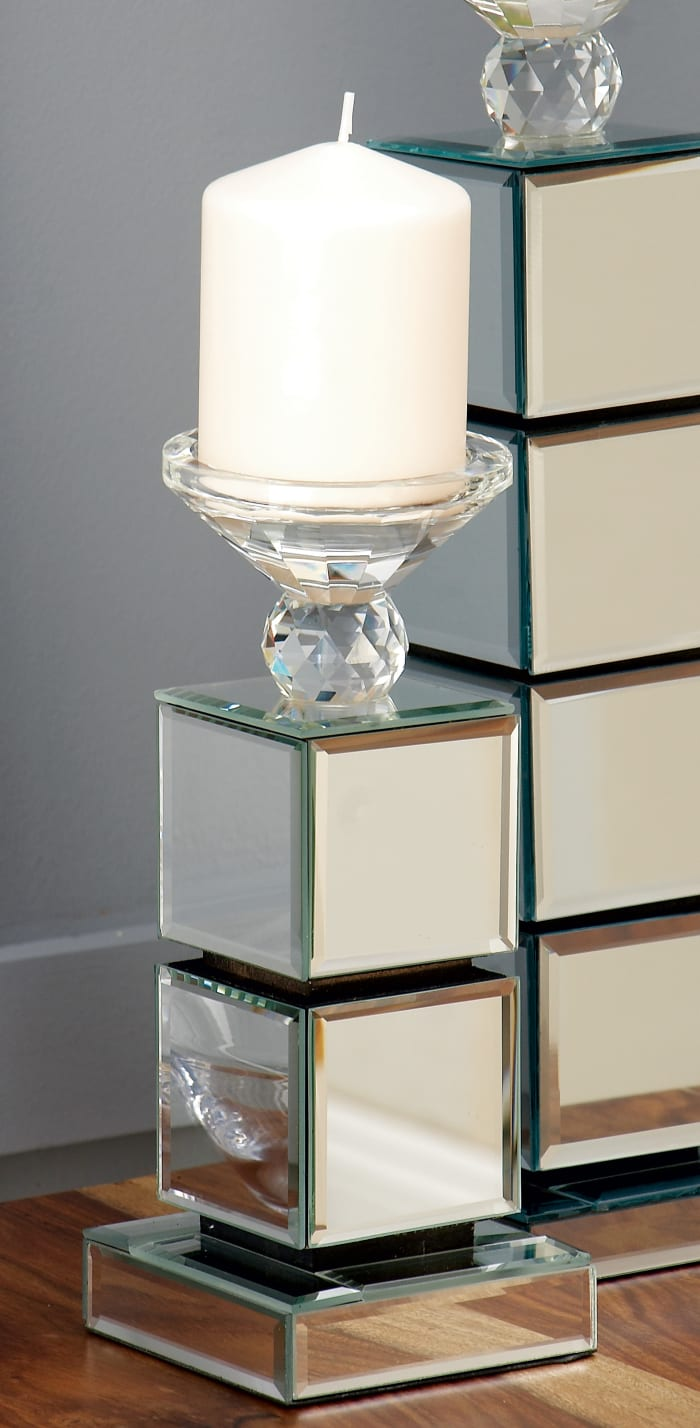 Clear Reflective Mirror Glam Candlestick Holders