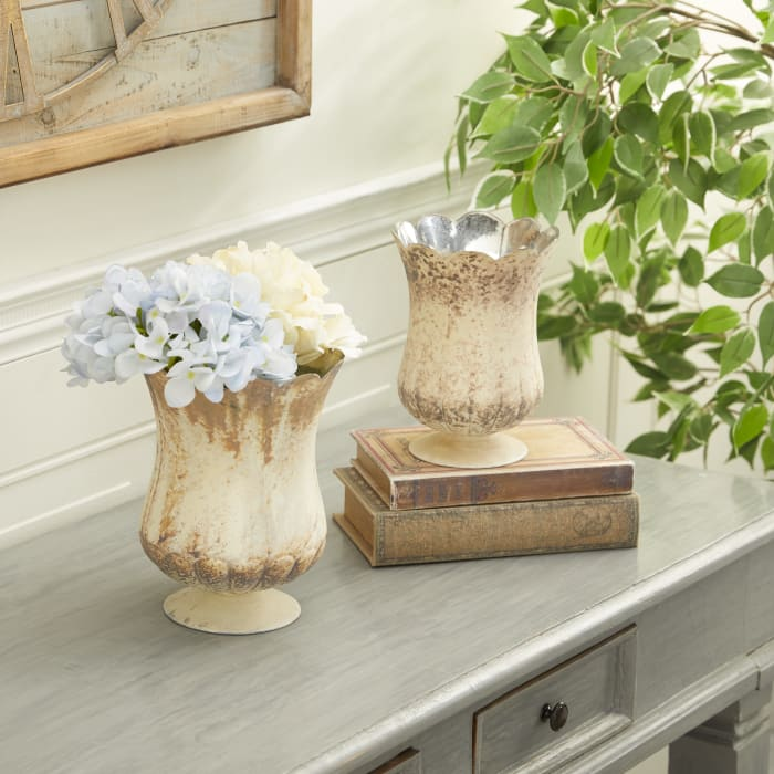 Brown Glass Rustic Set of 2 Candle Holders