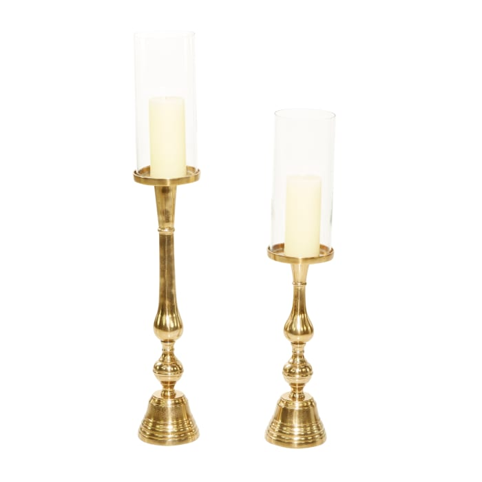 Gold Aluminum Traditional Set of 2 Candle Holders