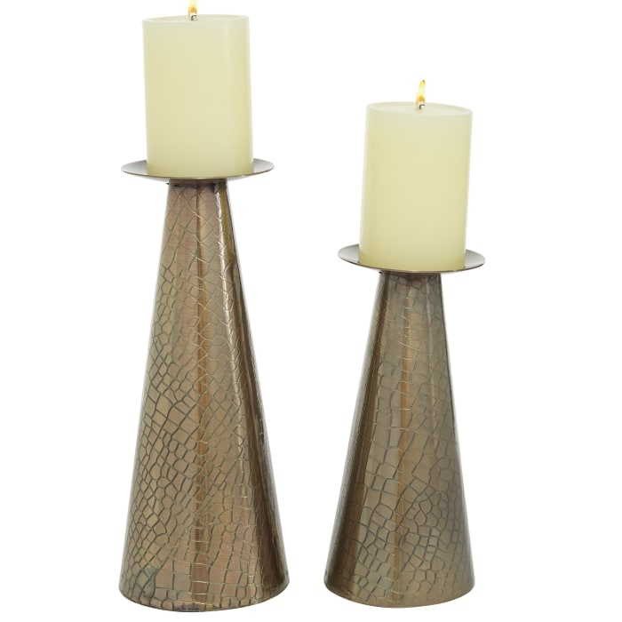 Bronze Stainless Steel Set of 2 Candle Holders