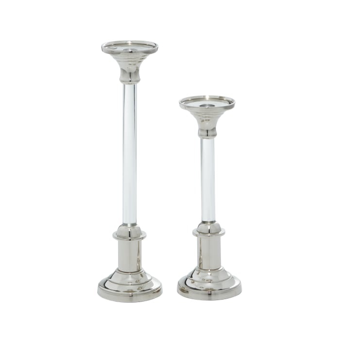 Silver Aluminum Glam Set of 2 Candle Holders