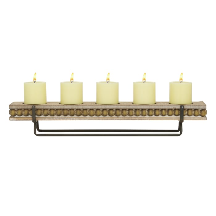 Brown Wood Natural Candlestick Holders