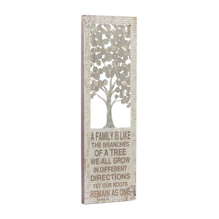 Farmhouse Beige Tree Metal Wall Decor