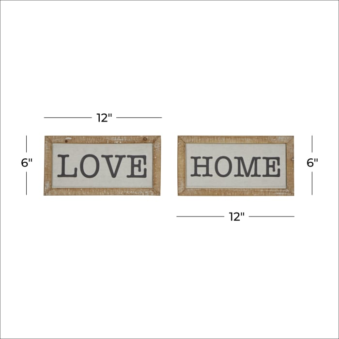 Farmhouse  Brown Metal Sign Set of 2 Wall Decors