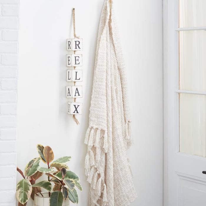 Coastal White Wood Hanging Block Art