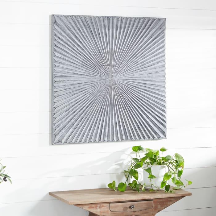Contemporary Grey Wood Abstract Wall Decor