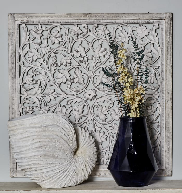 Traditional White Floral Mango Wood Wall Decor