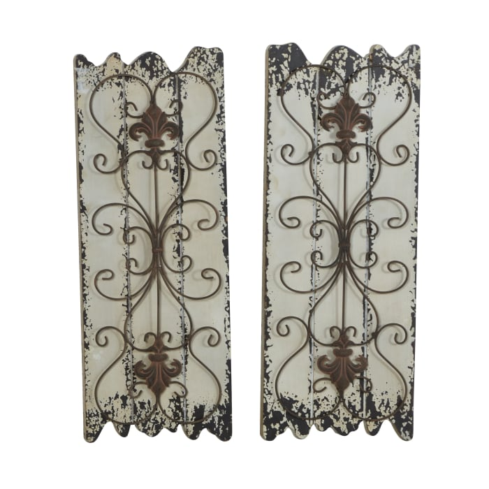Rustic White Wood Set of 2 Wall Decors