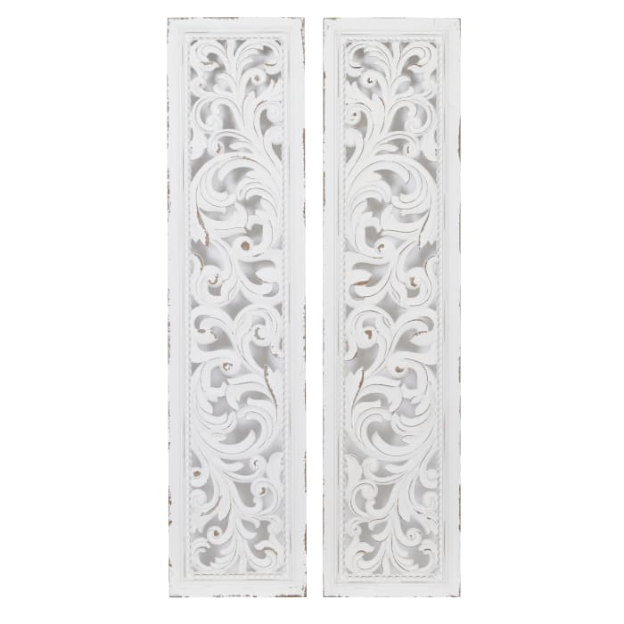 Abstract White Wood Set of 2  Wall Decors