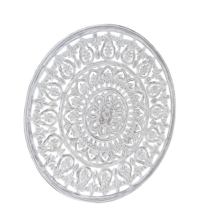 Traditional White Floral Wood Wall Decor