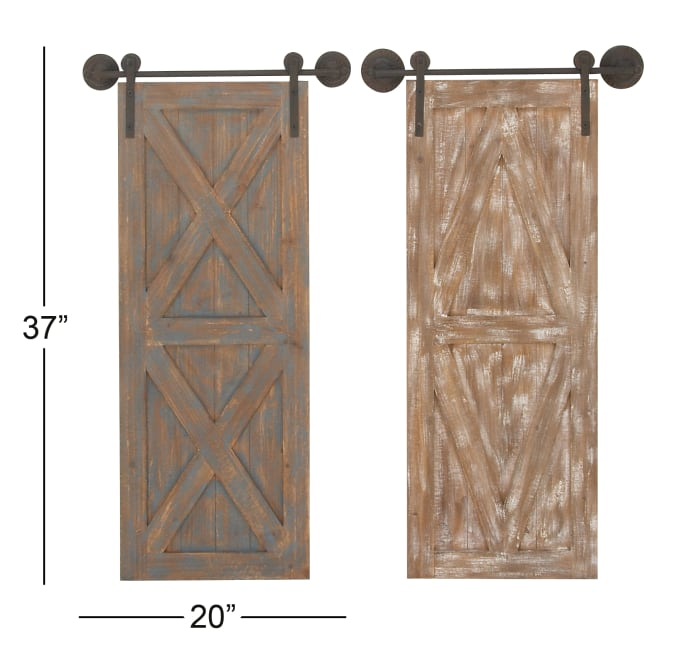 Farmhouse Abstract   Brown Wood Set of 2 Wall Decors
