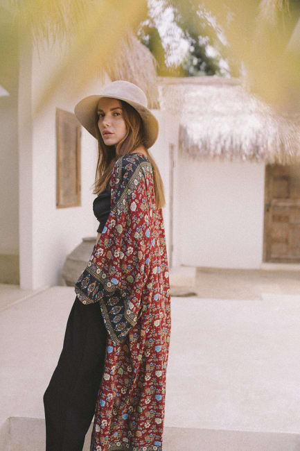 Cranberry Floral Kimono