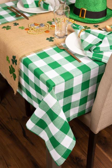 Picnic Plaid Green Cotton Tablecloth 60x104
