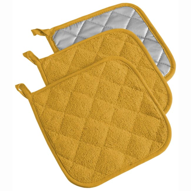 Solid Yellow Pot Holder Set of 3