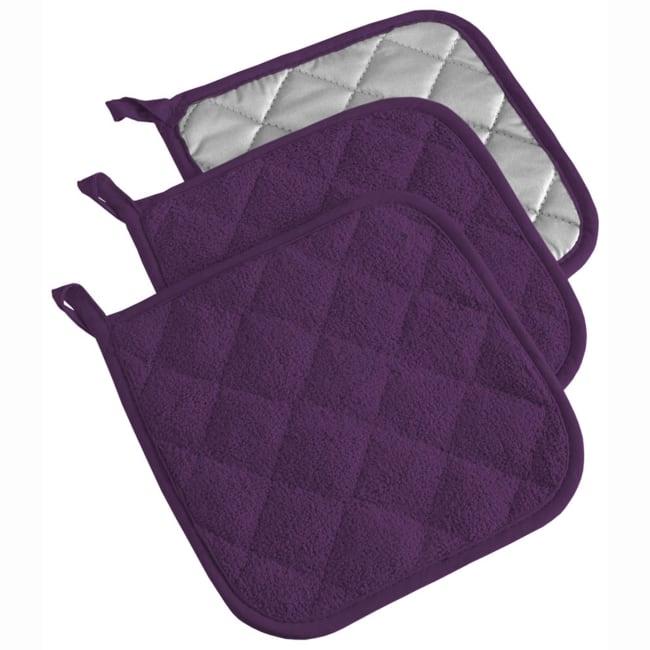 Solid Purple Pot Holder Set of 3