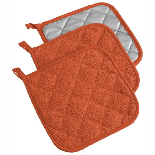 Solid Orange Pot Holder Set of 3