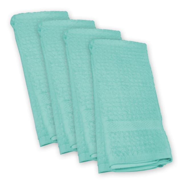 Aqua Waffle Dish Towel Set of 4