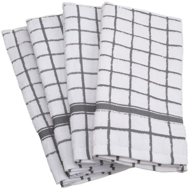 Gray Check Dish Towel Set of 4