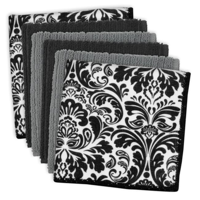 Damask Black Microfiber Dish Cloth Set of 6