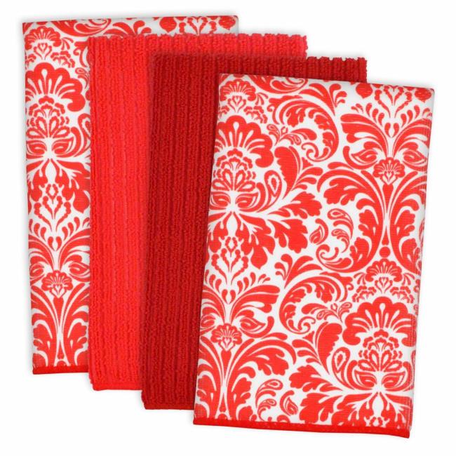 Damask Red Microfiber Dish Towel Set of 4