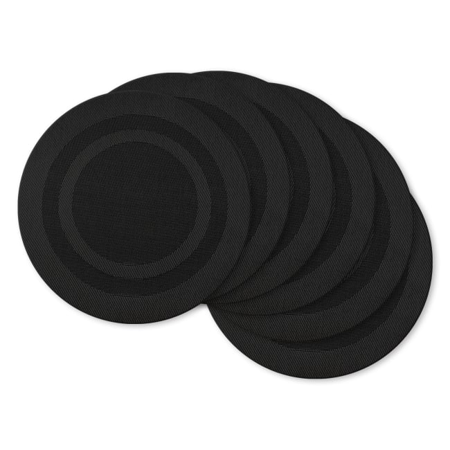 Double Border Black Round Placemats Set of 6