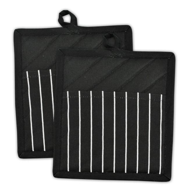 Black Stripe Pot Holder Set of 2