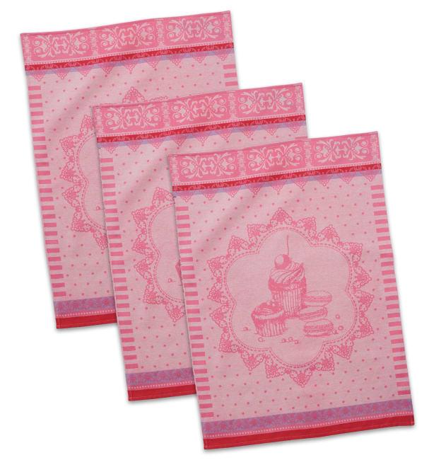 Vintage French Pink Dishtowel Set of 3