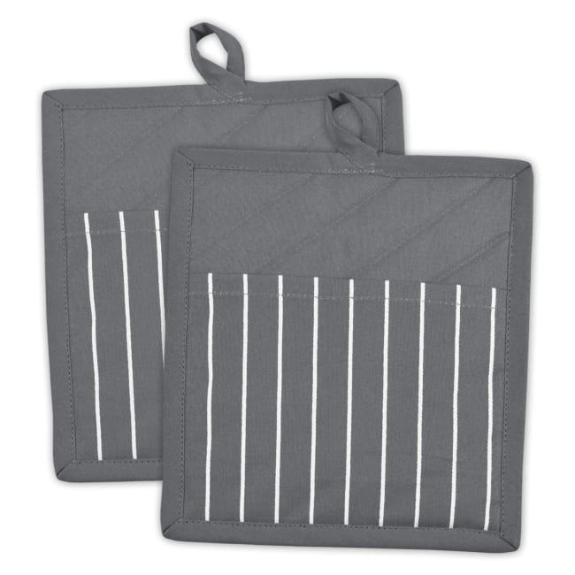 Stripe Gray Pocket Pot Holder Set of 2