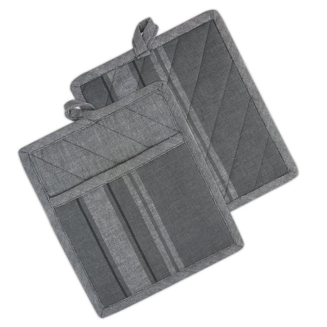 Gray Stripped Pot Holder Set of 2
