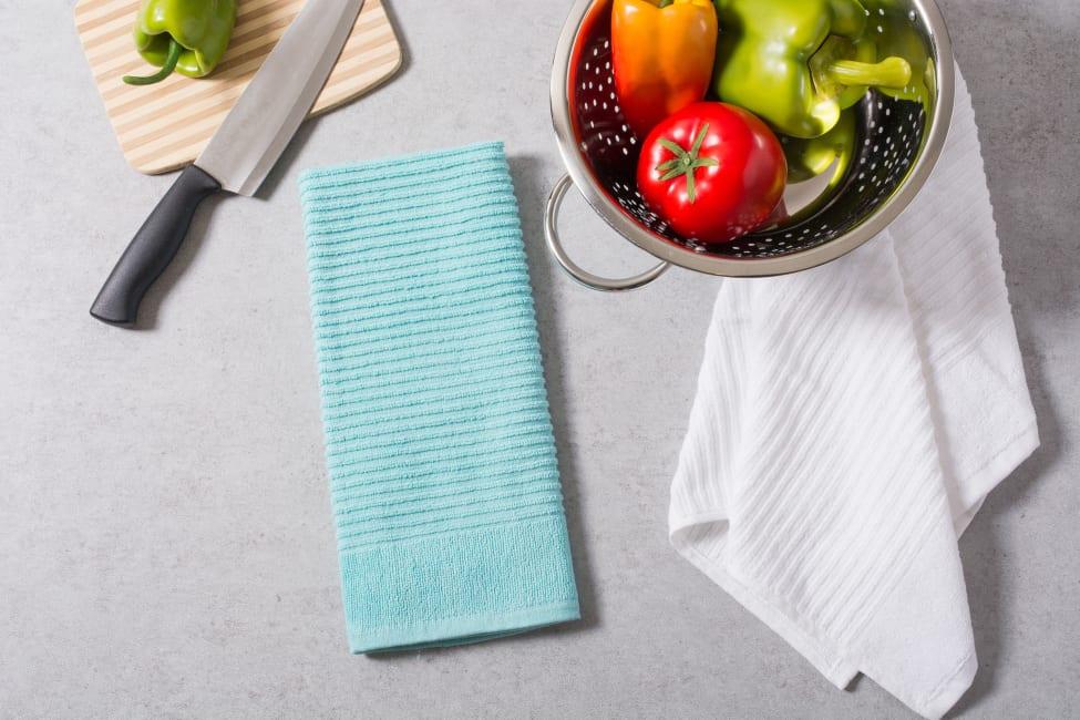 Teal & White Dish Towel Set of 4