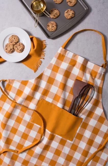 Harvest Orange Check Fringed Apron