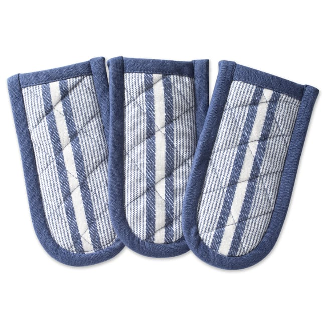 Stripe Blue Pan Handle Set of 3